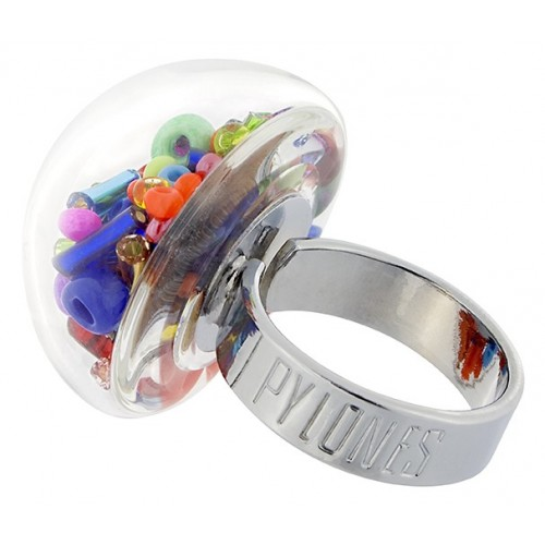 "Bague Pylones ""dome perle"" multicolore"