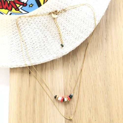Collier double Aztèque multi LITCHI